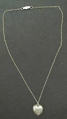 Vintage Sterling Silver(.925) Youth Engraved Heart Locket Necklace Excellent
