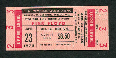 1975 Pink Floyd unused full concert ticket Wish You Were Hear Tour Los Angeles