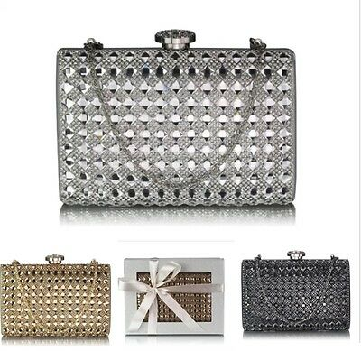 Ladies Women's Night Out Evening Clutch Bag Crystal Diamante Prom Wedding 267