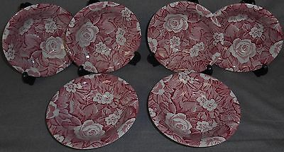 Set (6) Burgess & Leigh PINK VICTORIAN CHINTZ PATTERN Cereal Bowls