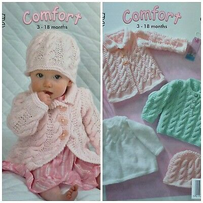 KNITTING PATTERN Baby Long Sleeve Cable Jumpers Hat & Coat Aran King Cole 3136