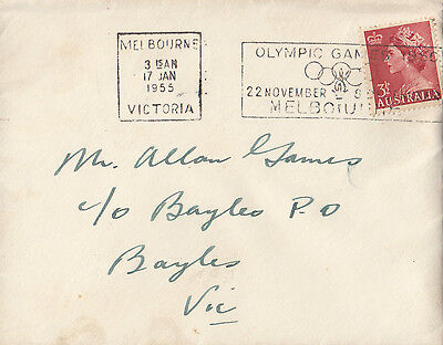Stamp Australia 3&1/2d red QE2 on cover with Olympic Games slogan postmark