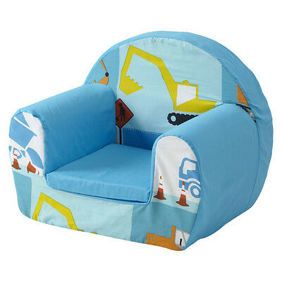 Construction Blue Childrens Kids Comfy Foam Chair Toddlers Armchair Seat Boys Se