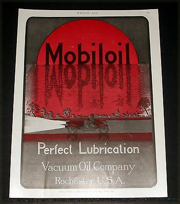 1910 Old Magazine Print Ad, Vacuum Oil, Mobiloil, Perfect Lubrication, Car Art!