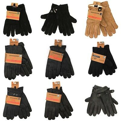 Dockers Genuine Leather Black Winter Gloves for Men Fashion