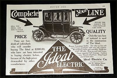 1910 Old Magazine Print Ad, Ideal Electric 4 Passenger Car, Complete Your Line!