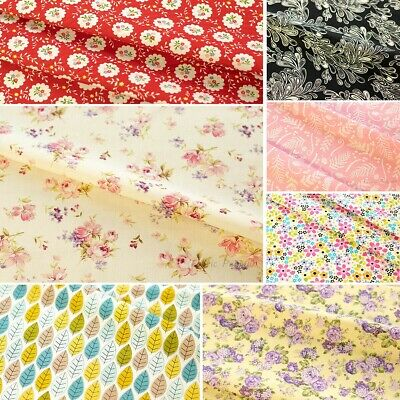 Floral Fabric 100% Cotton FAT QUARTERS Roses Pink Grey ROSE & HUBBLE