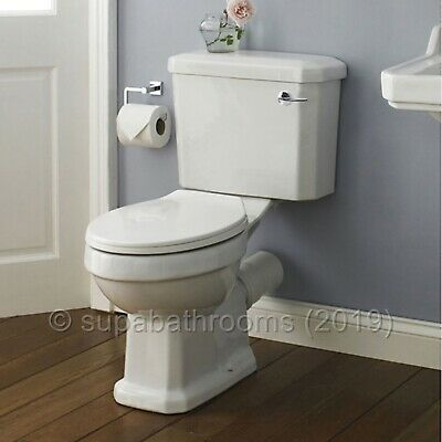 Carlton Traditional Ceramic Close Coupled WC Toilet Pan, Cistern & Seat
