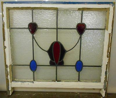 "LARGE OLD ENGLISH LEADED STAINED GLASS SASH Floral & Hearts design  28"" x 23"""