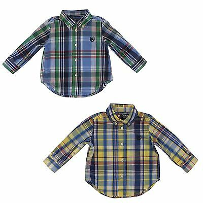 Chaps Long Sleeve Plaid Button Down Dress Shirt Top for Baby Boys
