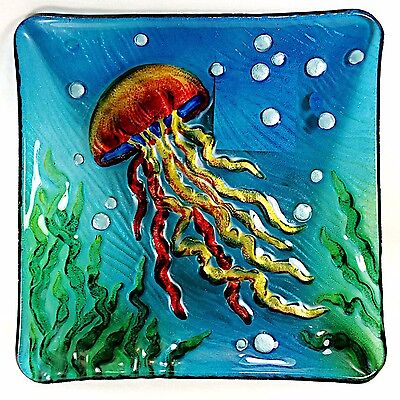 Jellyfish Art Glass Plate Hand Painted Home Decor