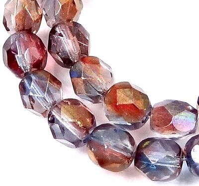 25 Firepolish Czech glass Faceted Round Beads - Amethyst Blue Crystal  6mm