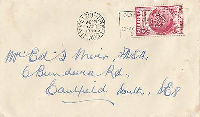 Stamp Australia 3&1/2d Rotary on cover with 1955 Olympic Games slogan postmark