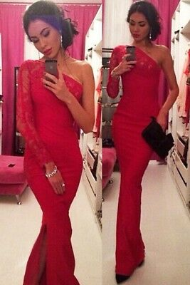 Women Ladies Vintage Lace Long Maxi Evening Formal Cocktail Party Red Dress