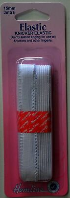 Knicker Elastic Hemline White 3m x 15mm