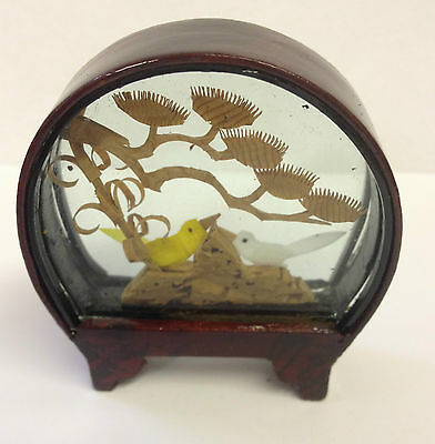Small Traditional Hand Crafted Chinese Cork Scene in Glass & Wood Frame ~ CS1 D