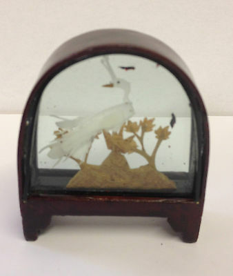 Small Traditional Hand Crafted Chinese Cork Scene in Glass & Wood Frame ~ CS1 F