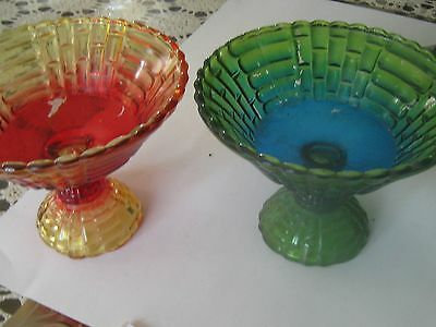 SET OF VINTAGE JEANETTE COMPOTE,LOUISA  BLUE/GREEN AND AMBERINA LOUISA