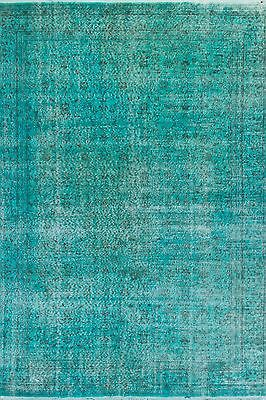 6.5x10 Ft Teal Blue Aqua Green Color OVERDYED HANDMADE Vintage Turkish RUG, a192