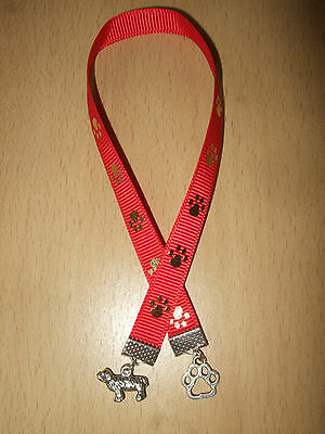 Handmade Bearded Collie Ribbon Bookmark Dog Puppy Charm Sheepdog Paw Print Red