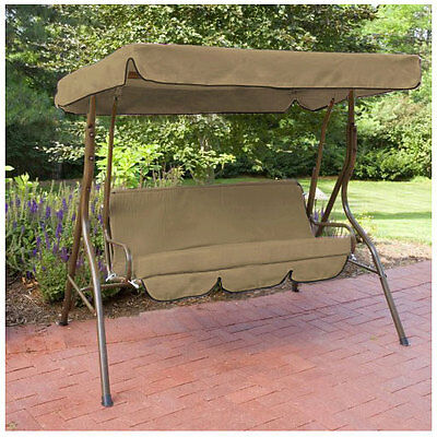 Stone Water Proof 3 Seater Garden Hammock Swing Seat Canopy Cover & Cushion Set