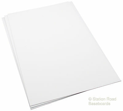 "3 Sheets 1.5mm 60Thou (0.060"") White Plasticard Styrene Plastic HIPS Size A4+"