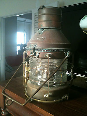 Beautiful Huge Vintage Brass Anchor Ship Lantern Light,Nautical,Boat,Navy,Kustom