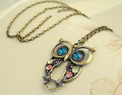 CUTE Stylish Vintage Colorful bronze lady Owl Carved Hollow Chain Necklace HS88