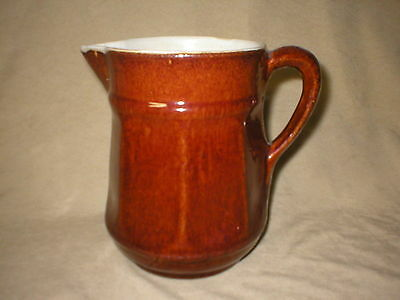 Antique Stoneware 7 1/2  Inch Pitcher With Brown Glaze    Rustic Decor