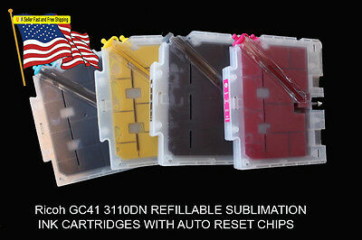 Fits Ricoh 3110DN Sublimation Ink Cartridge 7100DN   with  Ink 4 bottles 60ml