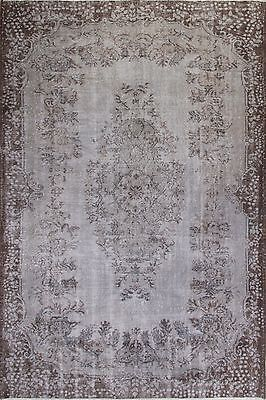 6.3x9.4 Ft  Gray Color OVERDYED Handmade Vintage Turkish Rug   a135