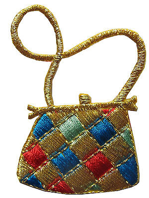 #2456 Golden Purse Embroidery Iron On Applique Patch