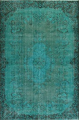 5.7x9 Ft Aqua Blue Teal colour OVERDYED Handmade upcycled old Turkish RUG a235