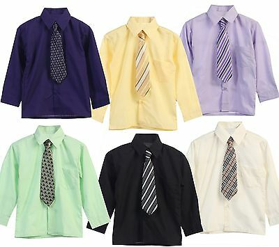 Dress Shirt And Tie Boy Kid Long Sleeve Solid Button Down Suit Formal Size 5-20