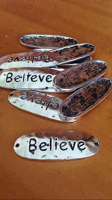Antique Silver BELIEVE Spacers x 7