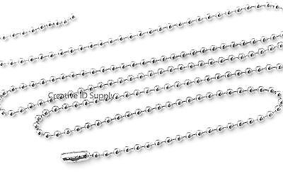 "WHOLESALE LOT 50 100 200 500 1000  BALL CHAIN 2.4mm 30/"" Silver Plated Best Price"