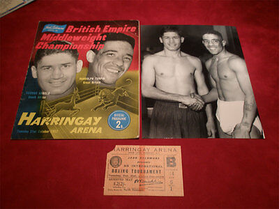 Boxing programme Turpin v Angelo 21 Oct 1952 programme, ticket & photo