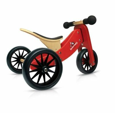 Kinderfeets Wooden 2-In-1 Tiny Tot & Balance Bike - Red