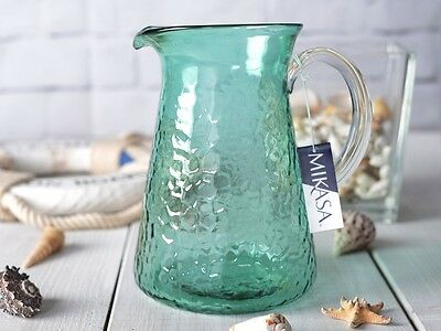 MIKASA Into The Blue GREEN GLASS WATER JUG
