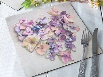 Set of 4 MIKASA Hush CORK BACKED Heart Flowers PLACEMATS