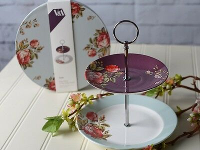 V&A TOILE Rose Chintz 2 TIER Fine China CAKE STAND