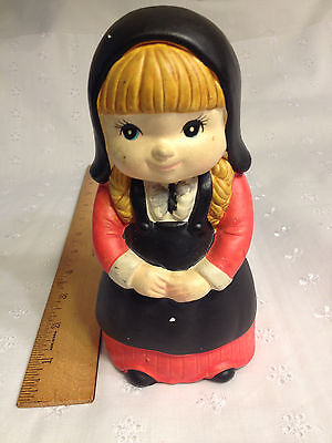 Vintage Retro Chalkware PLIGRIM GIRL Bank, Black N Red Coin Bank, Made in Japan