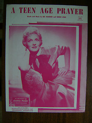 Vintage Sheet Music-1955-A Teen Age Prayer-Gloria Mann-Piano-Vocal