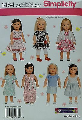 """Simplicity 1484 Sewing PATTERN for 18"""" Girl DOLL CLOTHES from AMERICAN SELLER"""