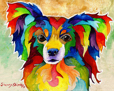 PAPILLION 8X10  DOG Colorful Print from Artist Sherry Shipley