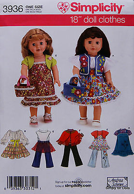 """Simplicity 3936 Sewing PATTERN for 18"""" Girl Doll Clothes from AMERICAN SELLER"""