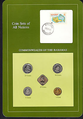 Bahamas Coin Sets of All Nations 5 BU Coins - 1969-1984