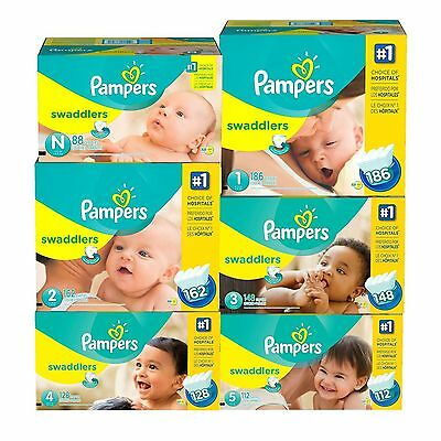 PAMPERS Swaddlers Diapers Size 0 1 2 3 4 5 6 PICK ANY SIZE FAST SHIPPING & FREE