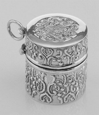 Antique Style Repousse Sewing Thimble Case - Sterling Silver