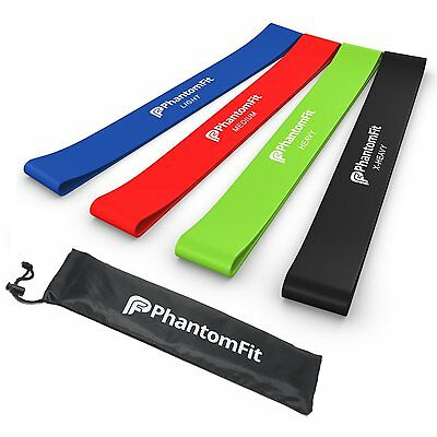 Phantom Fit Resistance Loop Bands - Set of 4 - Best Fitness Exercise Bands NEW